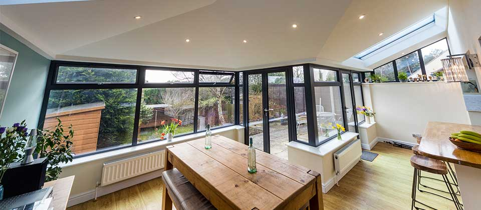 Inside a modern solid roof conservatory